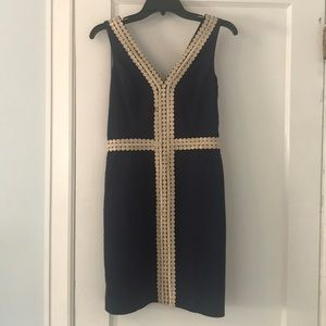 Lilly Pulitzer Navy Dress with Hold Embroidery